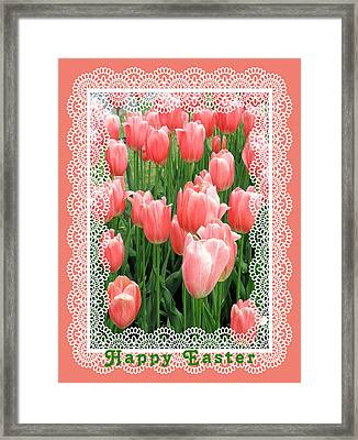 Easter Card With Tulips Framed Print by Rosalie Scanlon