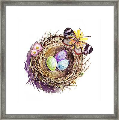 Easter Colors Bird Nest Framed Print by Irina Sztukowski