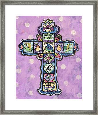 Easter Cross On Orchid Framed Print by Jen Norton