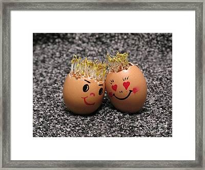 Easter Eggmen Or Eggs With Hair Series. 02 Framed Print by Ausra Huntington nee Paulauskaite