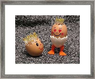 Easter Eggmen Or Eggs With Hair Series. 03 Framed Print by Ausra Huntington nee Paulauskaite