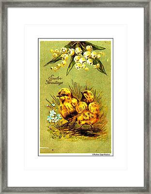 Easter Greetings 1907 Vintage Postcard Framed Print by Audreen Gieger