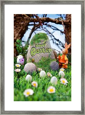 Easter Hunt Flyer With Bunny Framed Print
