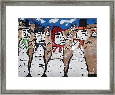 Easter Island Snow Men Framed Print by Jeffrey Koss