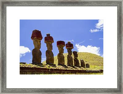 Easter Island Statues  Framed Print by David Smith