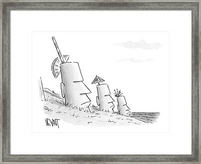 Easter Island Statues Have Straws And Umbrellas Framed Print