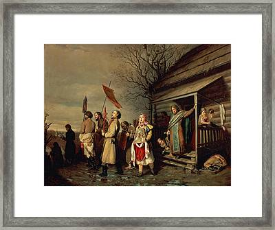 Easter Procession, 1861 Oil On Canvas Framed Print