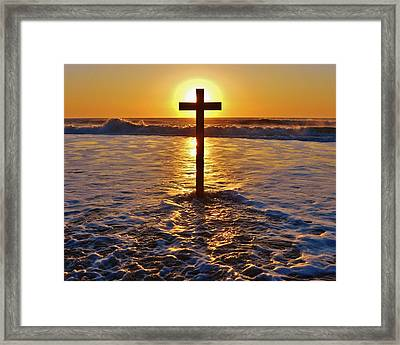 Easter Sunrise Cross Outer Banks 1 Framed Print by Mark Lemmon