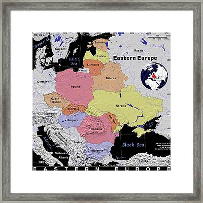Eastern Europe Exotic Map Framed Print
