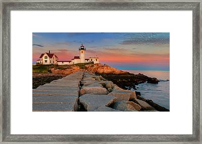 Eastern Point Lighthouse At Sunset Framed Print by Thomas Schoeller