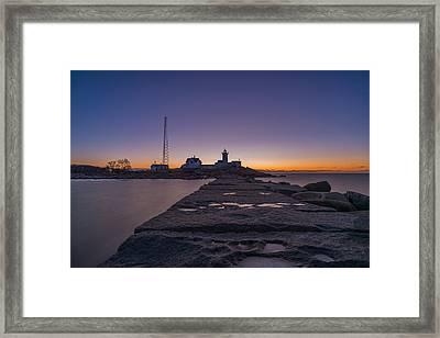 Eastern Point Lighthouse Just Before Sunrise Gloucester Ma Framed Print