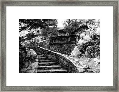 Eastern University - Stairs In Black And White Framed Print