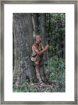 Eastern Woodlands Indian At Rest Framed Print by Randy Steele