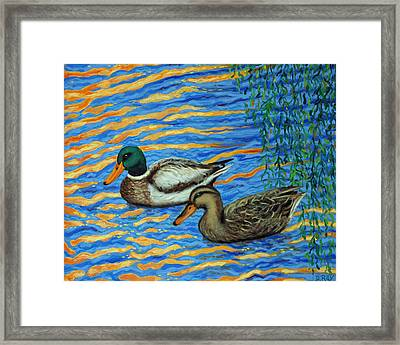 Framed Print featuring the painting Eastlake Ducks by Dwain Ray
