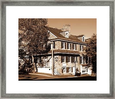 Easton Pa - Bachmann Publik House In Sepia Framed Print by Jacqueline M Lewis