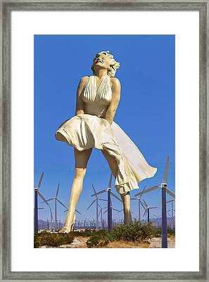 Cool Breeze Marilyn Palm Springs Framed Print by William Dey