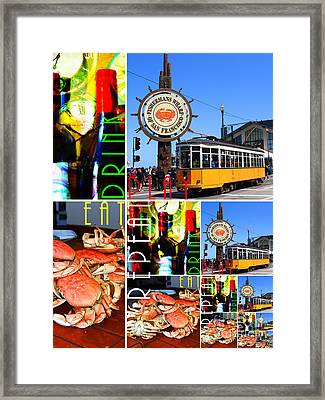 Eat Drink Play Repeat San Francisco 20140713 Vertical V2 Framed Print by Wingsdomain Art and Photography