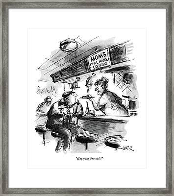 Eat Your Broccoli! Framed Print by Lee Lorenz