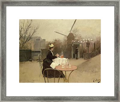 Eating Al Fresco Framed Print by Ramon Casas i Carbo