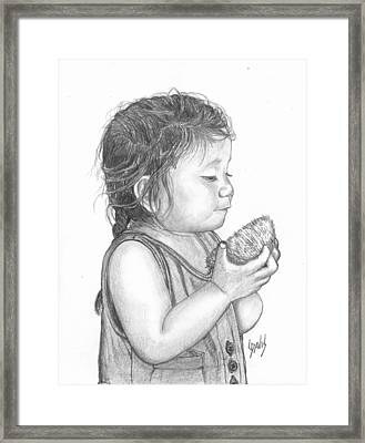 Eating Coconut Framed Print by Lew Davis
