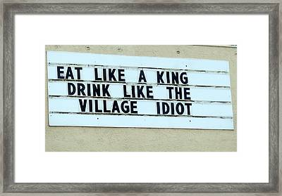 Framed Print featuring the photograph Eating Drinking Sign Humor by Kay Novy