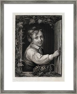 Eating Grapes, Harvest Party, Boy, 19th Century Framed Print
