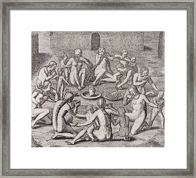 Eating The Flesh Of A Prisoner According To The Old Historian, From Gottfrieds Historia Antipodum Framed Print by German School