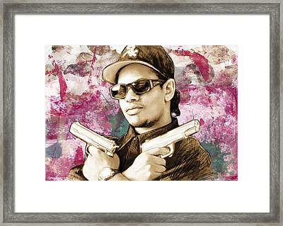 Eazy-e - Stylised Drawing Art Poster Framed Print by Kim Wang
