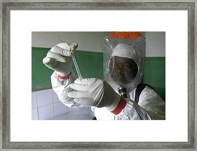 Ebola Virus Research Framed Print by Thierry Berrod, Mona Lisa Production