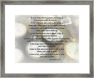 Ecc 3 1-8 To Every Thing There Is A Season Framed Print