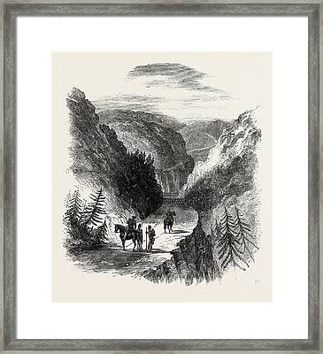 Ecca Heights Pass, Leading From Grahamstown To Fort Brown Framed Print by South African School