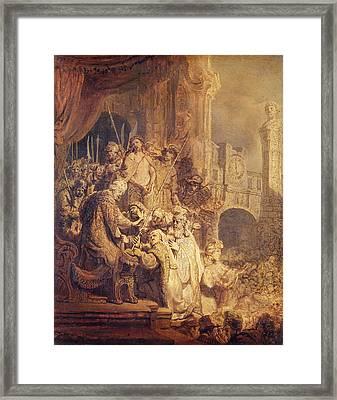 Ecce Homo, 1634 Oil On Paper Framed Print by Rembrandt Harmensz. van Rijn