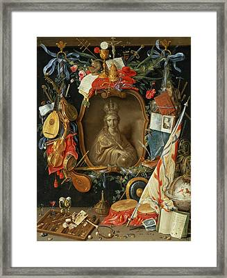 Ecclesia Surrounded By Symbols Of Vanity On Copper Framed Print