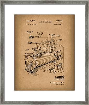 Eckdahl Computer 1960 Patent Art Brown Framed Print by Prior Art Design
