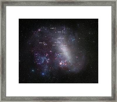 Eclipsing Binary Star Systems In The Lmc Framed Print by Eso/r. Gendler