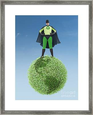 Eco Superhero And Green Planet Framed Print by Roman Milert
