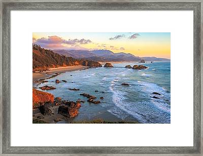 Ecola Beach Sunset Framed Print