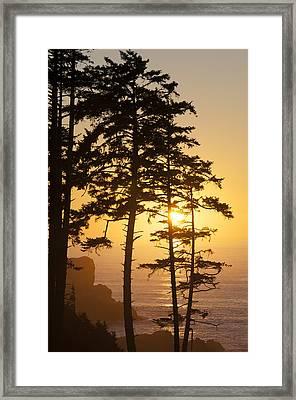 Ecola Point Sunset Framed Print
