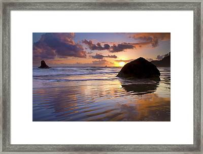 Ecola Sunset Framed Print by Mike  Dawson