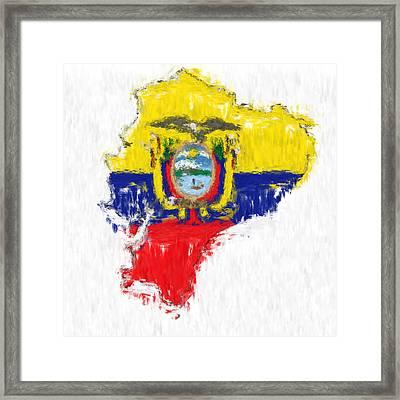 Ecuador Painted Flag Map Framed Print by Antony McAulay