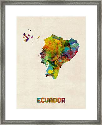 Ecuador Watercolor Map Framed Print by Michael Tompsett
