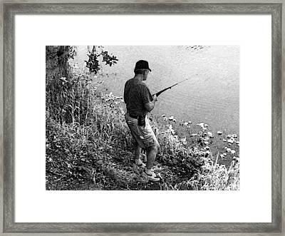 Ed Fishing Framed Print by Lenore Senior and Sharon Burger