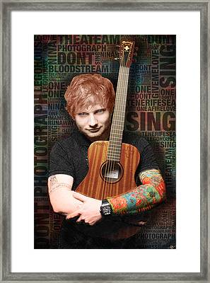Ed Sheeran And Song Titles Framed Print by Tony Rubino