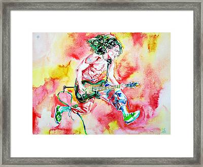 Eddie Van Halen Playing And Jumping Watercolor Portrait Framed Print by Fabrizio Cassetta
