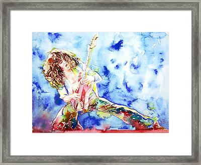 Eddie Van Halen Playing The Guitar.1 Watercolor Portrait Framed Print
