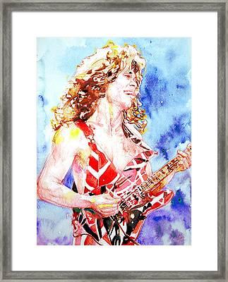 Eddie Van Halen Playing The Guitar.2 Watercolor Portrait Framed Print