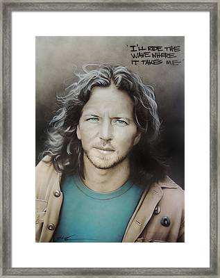 ' Eddie Vedder ' Framed Print by Christian Chapman Art