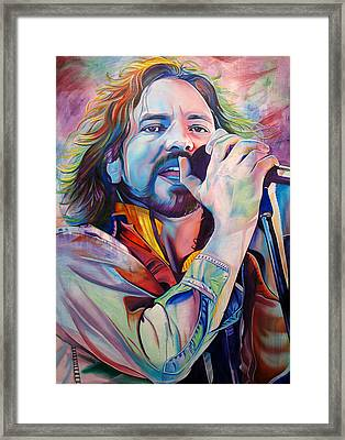 Eddie Vedder In Pink And Blue Framed Print