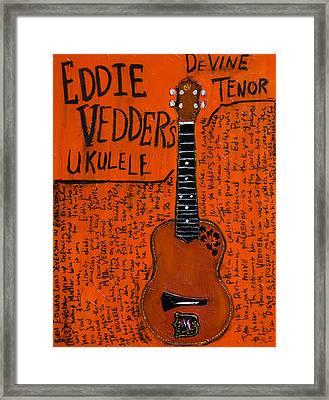 Eddie Vedder Ukulele Framed Print by Karl Haglund