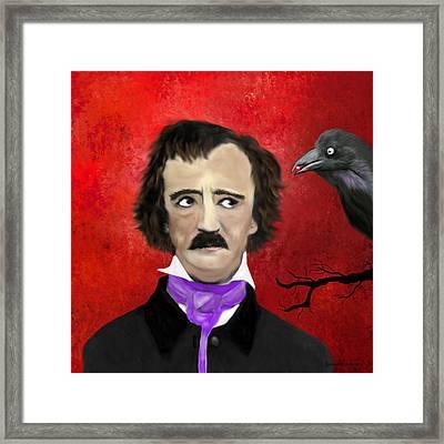 Edgar Allan Poe And The Raven Framed Print
